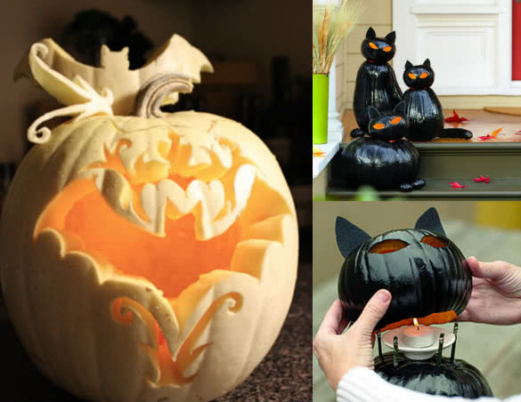 Bats and cats pumpkin carvings for Halloween